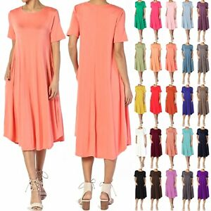 TheMogan-Women-amp-PLUS-Short-Sleeve-A-line-Fit-amp-Flare-Midi-Long-Dress-W-Pockets