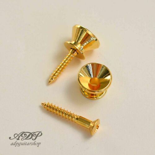 Attache Courroie Gotho pour Stratocaster Style Strat Strap Buttons Gold Dorées