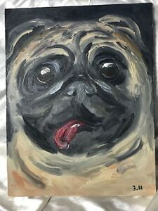 1-Decorative-Original-Oil-Painting-Naive-Pug-Animal-Pet-Dog-Panting-Portrait