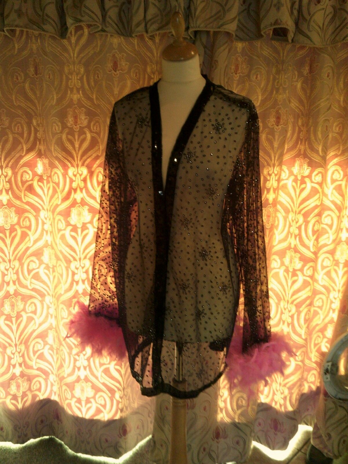 Drag Queen/Cabaret SHORT Black/silver glitter coat with pink feathers 18/20