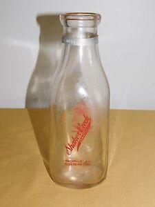 VINTAGE 1950 SHAKER CREEK DAIRY WATERVLIET NY  1 ONE QUART MILK BOTTLE
