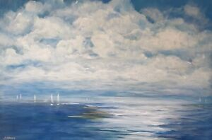 Large-Original-Contemporary-Modern-Fine-Art-Acrylic-Seascape-Sea-painting-Signed