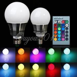5W/10W E27/E14 RGB LED Light Color Changing Lamp Bulb 110V-220V + ...
