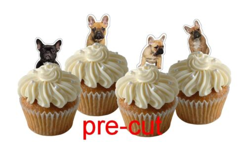 x24 french bulldog edible wafer paper stand up cup cake toppers PRE-CUT