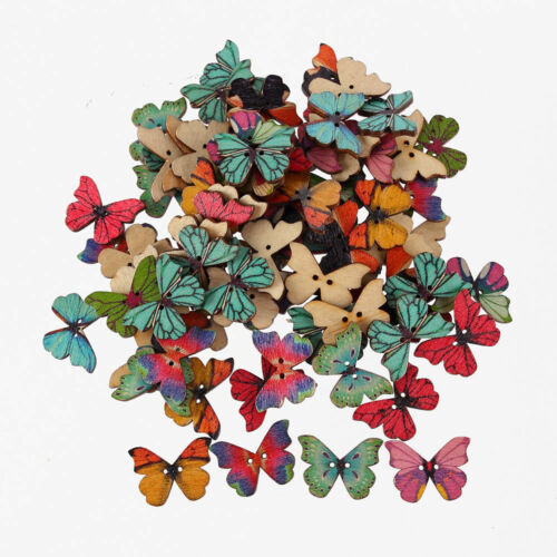 CraftbuddyUS 100 Mixed Wooden Painted Butterfly Embellishments scrapbooking,card