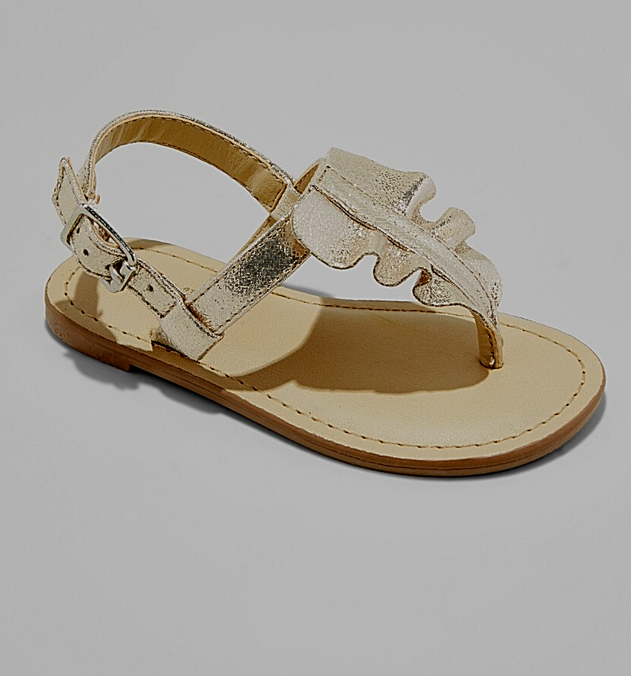 *Cat & Jack Girls Youth Size 5 Gold Naomi Ruffle Ankle Strap Thong Toe Sandals
