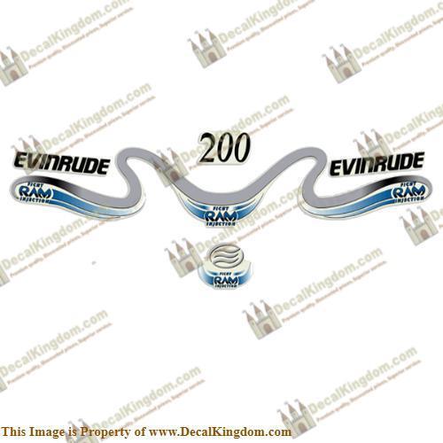 Evinrude 200hp Ficht Ram Decals 1999 - 2000