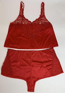 Vtg-Cabernet-Womens-Lingerie-Camisole-Panty-Set-Red-Nylon-Lace-USA-Plus-Size-42