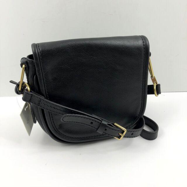 01e401e94356 Fossil RUMI Small Crossbody Leather Black Saddle Bag NWT  158 Free Shipping
