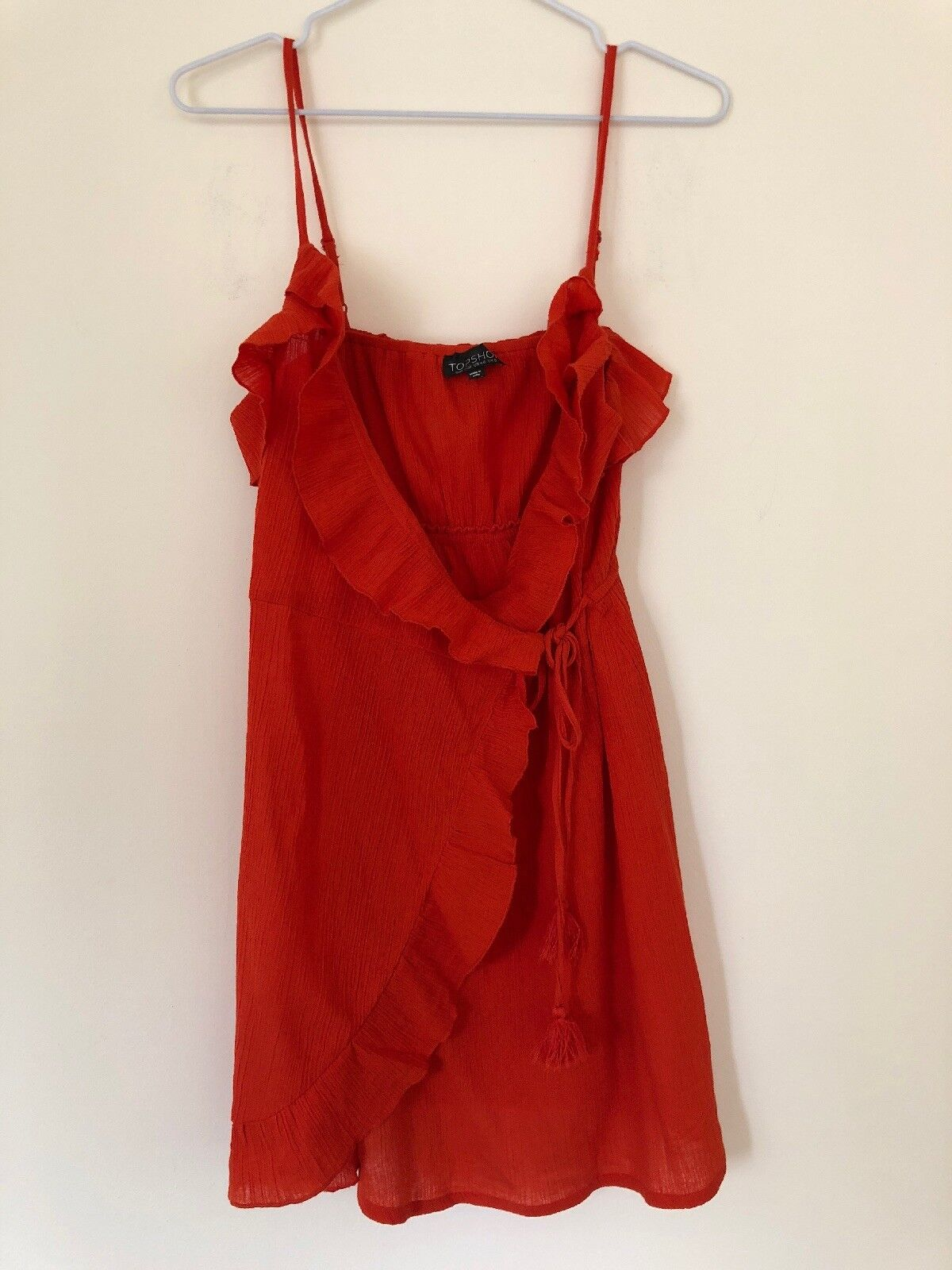 1685251902f Topshop orange Frill Wrap Beach Dress Size Small Ruffle nuoubt4128 ...