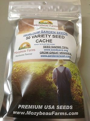 50 VARIETY. HEIRLOOM, Non-GMO GARDEN SEED CACHE. Premium USA Seeds. Large Counts