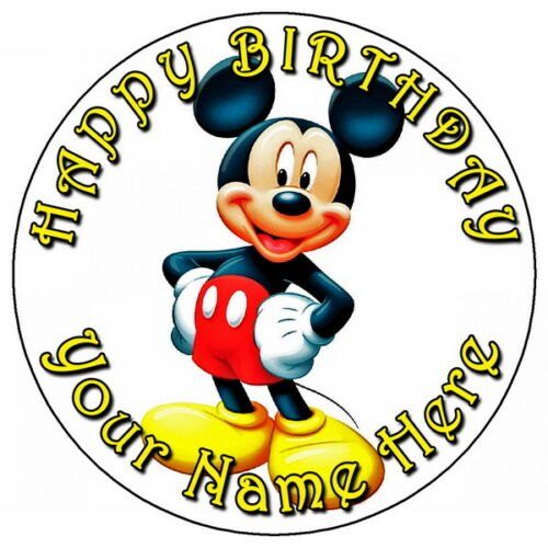 """7.5/"""" PERSONALISED ROUND EDIBLE ICING CAKE TOPPER MICKEY MOUSE FUN PARTY"""