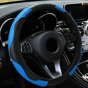 Auto-Lenkradhuelle-Lenkrad-Abdeckung-Lenkradbezug-Mikrofaser-Blau-Universal
