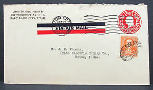 US-Airmail-Postal-Stationery-Cover-Salt-Lake-City-6c-GS-USA-Lupo-Letter-H-7949