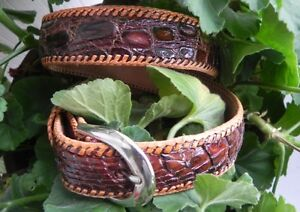 Genuine-Artisan-Handmade-Authentic-Alligator-Caiman-Leather-youth-amp-boy-039-s-Belt