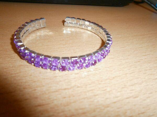 1 Tolles Pinkfarbenes Strass-armband - Biegbar - 2-reihig - Neu Verschiedene Stile