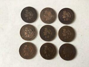 FRANCE-9-pieces-en-Bronze-Ceres-10-Centimes