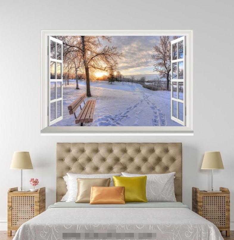 3D Snow Forest 898 Open Windows WallPaper Murals Wall Print Decal Deco AJ WALL