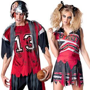 Image is loading Zombie-American-Footballer-or-Cheerleader-Halloween -Fancy-Dress-  sc 1 st  eBay & Zombie American Footballer or Cheerleader Halloween Fancy Dress ...