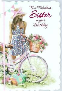 Image Is Loading Sister Birthday Card Young Woman Bicycle Flower Basket