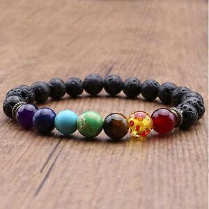 Edelstein-Chakra-Lava-Felsen-Stein-Spacer-Healing-Korn-Armband-Armband-Heiss-L2R2