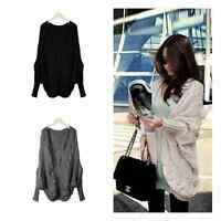 New Womens Loose Batwing Sleeve Cable Knitted Chunky Cardigan Sweater Cape Shawl