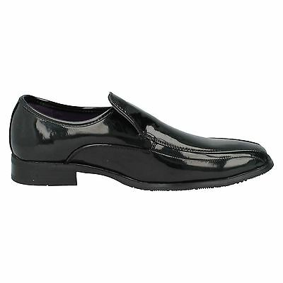 Hombre MAVERICK Charol Negro Zapatos SIN CIERRES GB Tallas 7-11 a1094