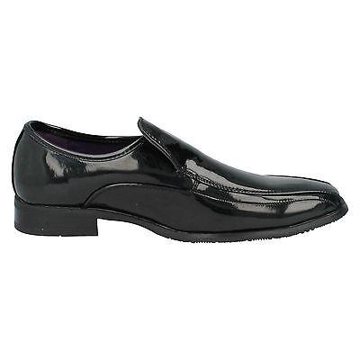 Herren Maverick Schwarz Lack Slipper Schuhe UK Größen 7 - 11 A1094