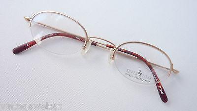 Titanbrille Gold Ca 8g Leicht Nur Oberrahmen Oval Klein Brillenfassung Grösse S