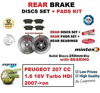 REAR DISCS AND PADS FOR PEUGEOT 207 CC 1.6 HDI 3//2007-3//2011