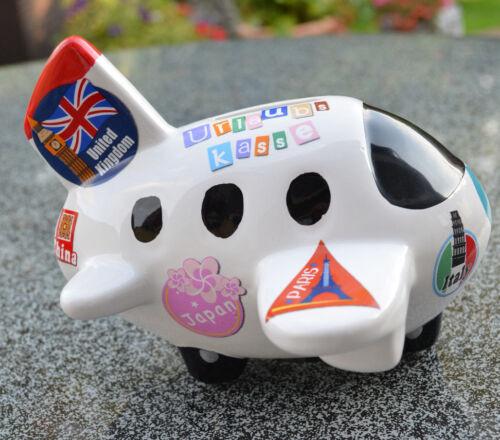 Spardose Flugzeug bunt Urlaub Hobby Geschenk Sparbox Sparschwein Artikel Keramik