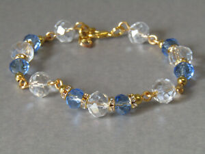 Ice Blue & Clear Sparkly Czech Crystals & Sparkle Diamante Beaded Bracelet