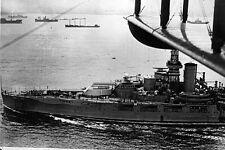 New 5x7 World War II Photo: Battleship USS OKLAHOMA from Airplane Biplane