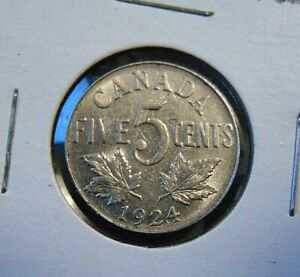 Canada 1924 Five 5 Cent Nickel Canadian Coin King George V Ebay