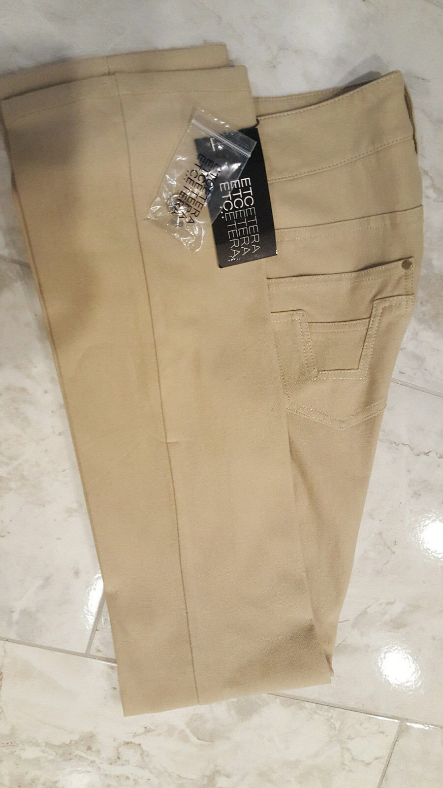 Etcetera Women's Jeans Straight Leg Beige color Denim Size 0 NWT