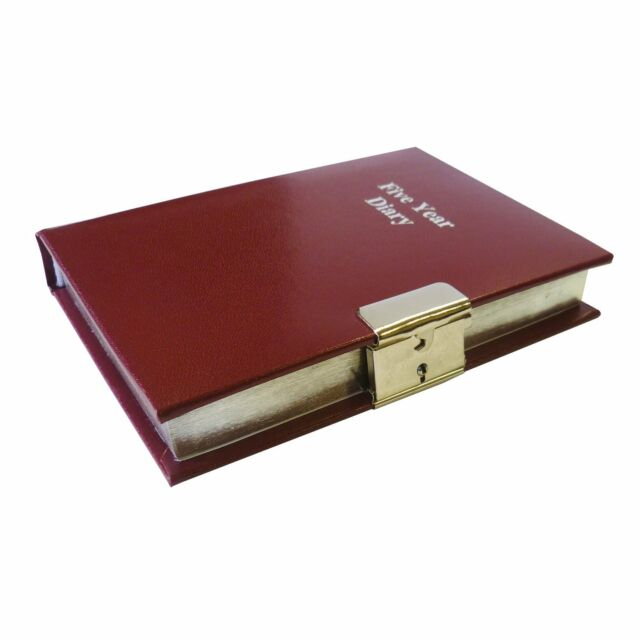 Burgundy 5 Five Year Undated Diary Lockable With Lock & Key Perpetual Organiser