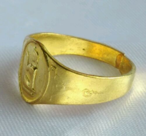 Ring Brass Nang Kwak Yant For wealth Trade Charm Success Thai Amulet Buddha # 58