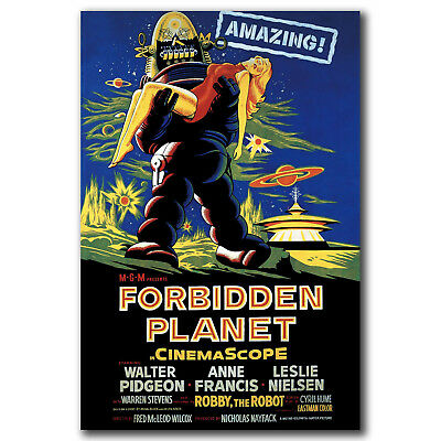 FORBIDDEN PLANET Movie POSTER Rare 50/'s Horror 2 Art 24x36in FABRIC Poster N2970