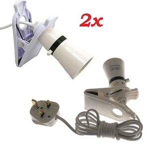 2x Clip On Switched Mains Powered Spot Light Bulb Holder