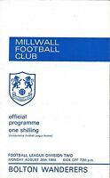 Football Programme MILLWALL v BOLTON WANDERERS Aug 1968