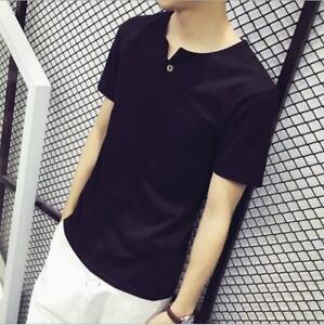 Summer-Shirts-Casual-Slim-Tops-Fit-Fashion-T-shirt-Short-Sleeve-Mens-Crew-Neck