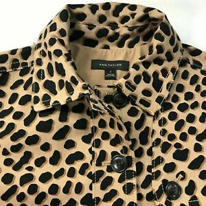 Ann Taylor Leopard Animal Print Belted Jacket Size 2 Cheetah Brown
