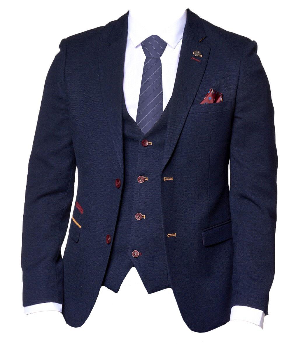 Herren Marc Darcy Formal Designer Blazer ( Peaky Blinders ) JD4 - Navy Blau
