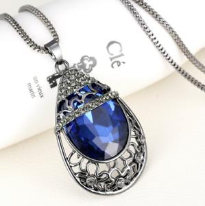 Silberkette-Kette-Halskette-mit-Anhaenger-Kristall-Augen-blau-Renaissance-80cm-1A