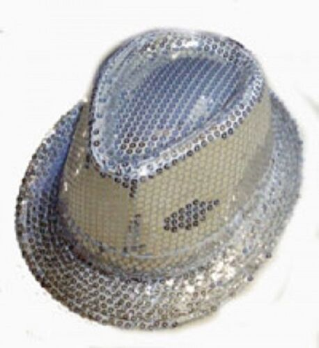 Silver Sequin Gangster Hat Fedora Trilby Cap Hats Dance Party