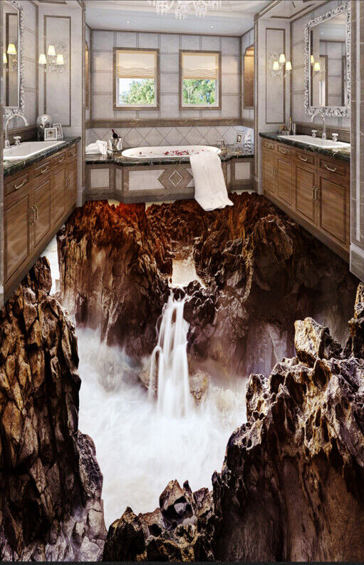 3D Waterfall Mountain 73 Floor WallPaper Murals Wall Print Decal AJ WALLPAPER US
