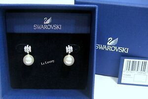 79c296c65 Image is loading Swarovski-Perpetual-Pierced-Earrings-Crystal -Pearl-Authentic-MIB-