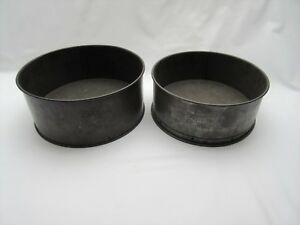 2 Vintage old rusty Perfect & Progress brand loose bottom round cake baking tins