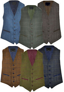 Mens-Classic-Wool-Blend-Derby-Tweed-Check-Waistcoat-Herringbone-Formal-S-3XL