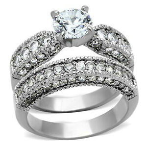 1-28-Ct-Round-Cut-AAA-CZ-Stainless-Steel-Wedding-Ring-Set-Women-039-s-Size-5-10
